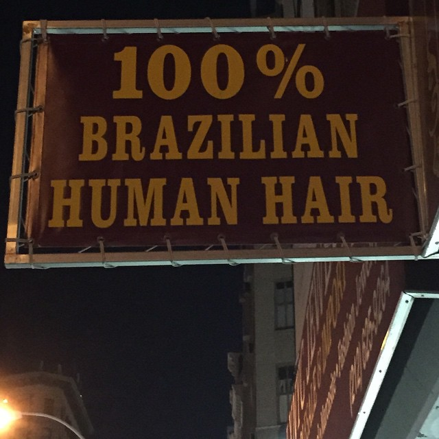 From the #onlyintheUSA files!  What were they thinking with this #advertising sign? You have to wonder where exactly does #Brazilian hair come from?
